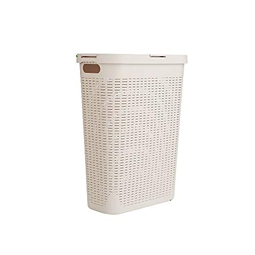 Mind Reader 40 Liter Slim Basket, Cutout Handles, Washing Bin, Dirty Clothes Storage, Bathroom, Bedroom, Closet, Ivory Laundry Hamper
