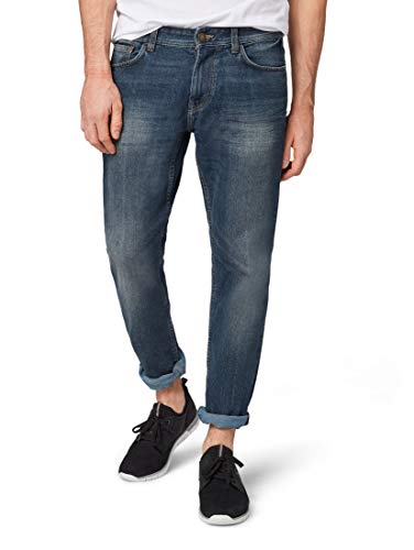 TOM TAILOR Herren Straight Leg Slim Jeans MARVIN,  Blau (Mid Stone Wash Denim 10281), 36W / 30L