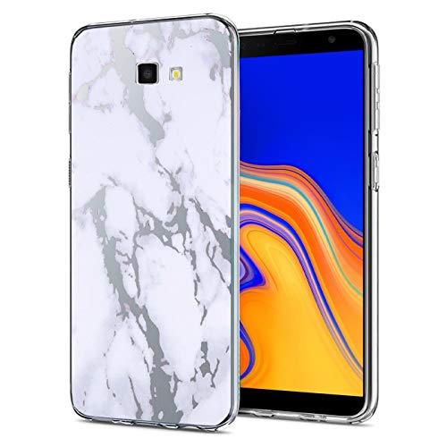 Conie® Handyhülle Rück Schale für Samsung Galaxy J4 Plus / +, Ultra Slim TPU Hülle aus Silikon mit Bilder Motiv, Kanten Bildschirm Kamera Schutz, Motiv Marmor Transparent Design