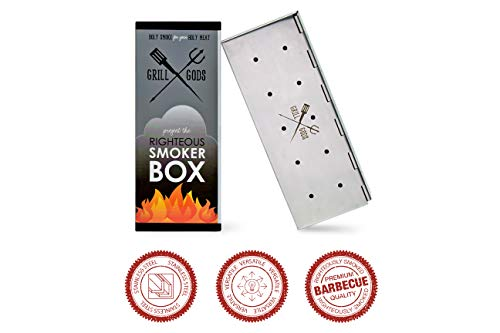 Grill Gods Stainless Steel Smoker Box - Wood Chip Smoker Box with 30% More Holes for Better Flavored BBQ - Best Accessory for Gas Grill and Charcoal Barbecue Smoker with Reinforced Hinged Lid