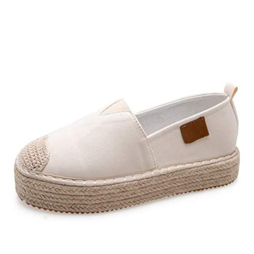 Mocasines de Plataforma para Mujer Zapatillas de Lona Planas Transpirables Ligeras de Verano Señoras cómodas Resbalón en Zapatos Casuales