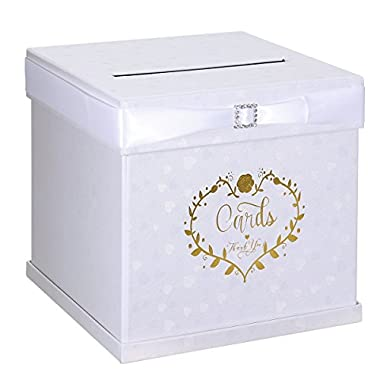 Unomor Wedding Card Box with 2 Color Ribbons, Rhinestone Slider and 3 Stylish Crystals, 10 x10  Textured White Gift Card Box with Golden Embossed Hearts Design