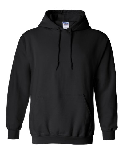 GILDAN Mens Heavy Blend 8 oz. 50/50 Hood(G185)-BLACK-M-2PK