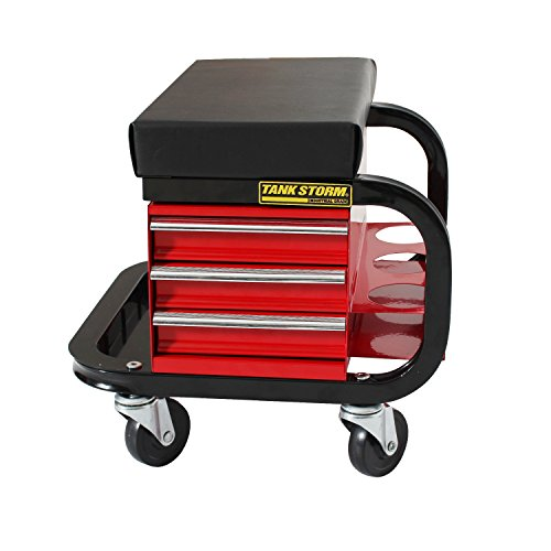TANKSTORM Tool Box Built-In Creeper Seat, Garage Shop Roller...