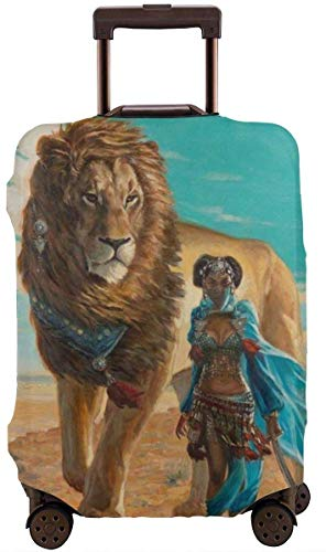 Travel Luggage Cover African Women and Lion Suitcase Cover Protector Fits 18-32 Inch Luggage Baggage Cover