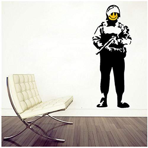kldfig Banksy Wallpaper Cooler Soldaat beschermer Happy Smiley War arm sticker muurkunst sticker muurschildering woonkamer huis decoratie 50 * 110cm