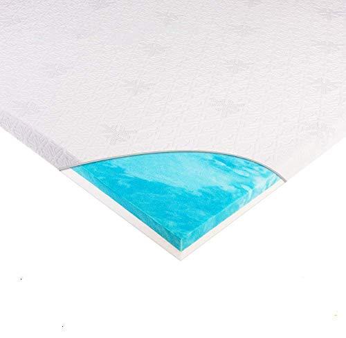 WAVVE Topper Colchón Viscoelástico 135x190x6 cm, 28D Gel 3cm y 50D Espuma de Memoria 3cm, Ergonómico, Alivio de Presión, con Funda Transpirable y Extraíble