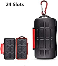 UPZHIJI SD Card Holder,Professional Water-Resistant Anti-Shock Holder Storage SD SDHC SDXC TF Memory Card Case Protector Cover with Carabiner for 12SD Cards & 12 Micro SD Cards