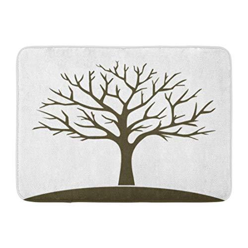 LINFENG Fußmatten Bad Teppiche Outdoor/Indoor Fußmatte Green Branch Winter Baum Silhouette Schablone Eiche nackt Ahorn Badezimmer Dekor Teppich 23,6 x 15,7 Zoll