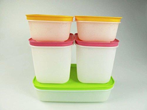 TUPPERWARE Caja de Congelación de 1 L verde + 1,1 L rosa + 450 ml blanco naranja