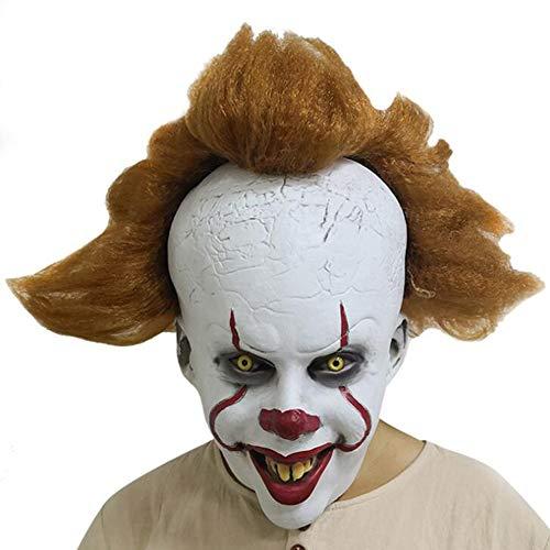 JOKOP Halloween Máscara de Látex Máscara de Payaso de Terror Facial Completa Disfraz Fiesta Accesorios para Cosplay Carnaval de Venecia Decoración