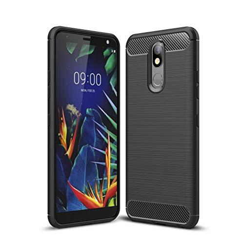 COTDINFORCA Case for LG K40 Custodia, Soft Silicone TPU Brushed Carbon Fiber Back Design Light Cover Scratch Resistant Shockproof Slim Phone Cover for LG K40 Black-LS-SSD.