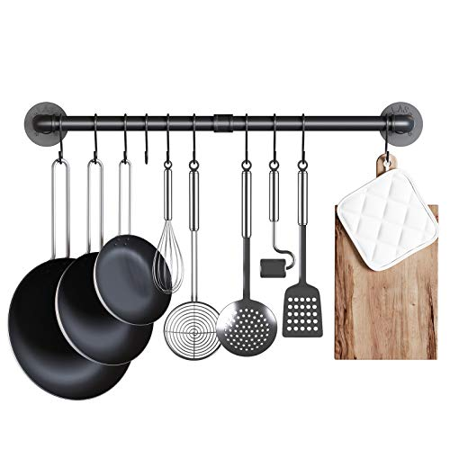 AcornFort K-172 80 cm 30 Inches Full Metal Solid Iron Wall Mount Pot Pan Bar Rack Hanging Rail Kitchen Utensils Hanger Organizer Cloth Display Rack with 10 Hooks