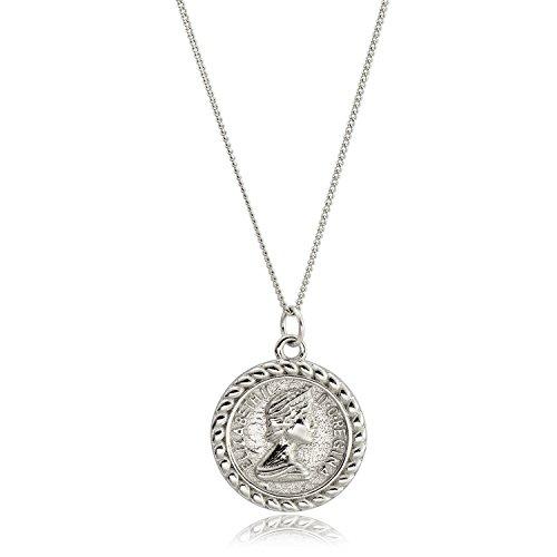 CISHOP Elizabeth Ⅱ Knight Horse Coin Pendant Necklace Sterling Silver Disc Necklace