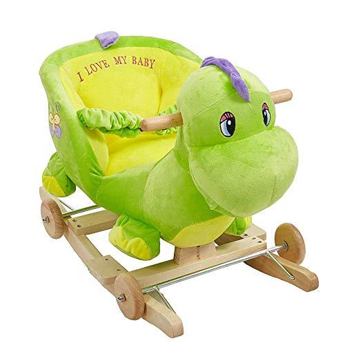 KARMAS PRODUCT Baby Kids Rocking Horse Toy Child Wooden Plush Rocking Horse Chair Rocker/Dinosaur Animal Ride on, with Wheels/Music/Seat Belt