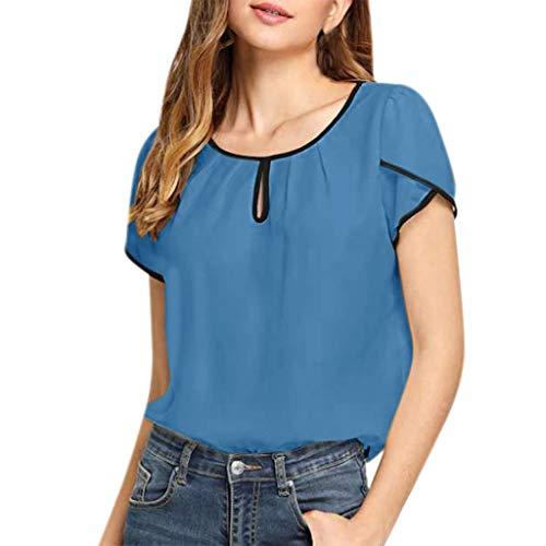 Deloito Damen Sommer Beiläufig Tunika Tops Rundhals Kurze Ärmel T-Shirt Einfarbig Chiffon Hemden Bluse Oberteile (Blau,Large)