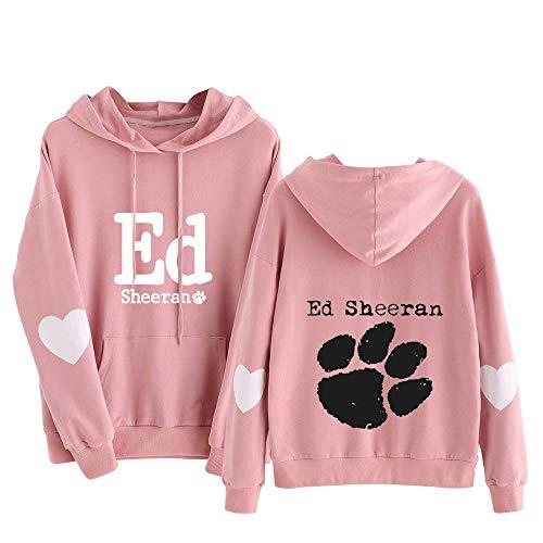 Ed Sheeran Pullover Impresión Suelta suéter de algodón Puro cómodo Primavera y el otoño con Capucha Camiseta Larga de la Manga Mujeres (Color : Pink19, Size : L)