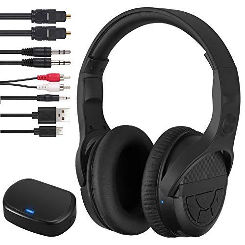 Auriculares Inalámbricos para TV de 2.4G RF con Transmisor Entrada Óptica RCA de 3.5 mm/AUX con Función de Memoria Auriculares de Audio Inalámbricos Recargables USB para TV PC Barra de Sonido