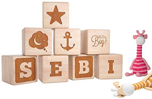 Geschenkfreude Geschenke Geburt Junge - Baby Geschenk Junge - Baby Geschenk - Babygeschenke zur Geburt Junge - Holzwürfel mit Gravur - personalisierte Geschenke Baby - Geschenke Geburt Junge