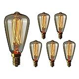 Gorssen Ampoule Edison E14,Lampe Edison Vintage 40W 2200K Blanc Chaud Rétro Filament Ampoule Decorative pour Bars, Restaurant, Café, Windows, Showrooms(Lot de 6)