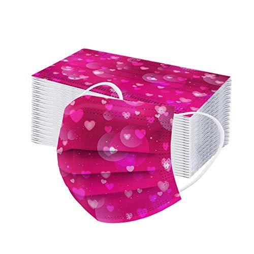 Dorical 100 Stücke Valentinstag Mund-Nasen Bedeckung, Einweg 3 lagig Multifunktionstuch Bandana Valentinstag Druck Staubdicht Mundbedeckung Atmungsaktive Staubschutz Halstuch für Erwachsene