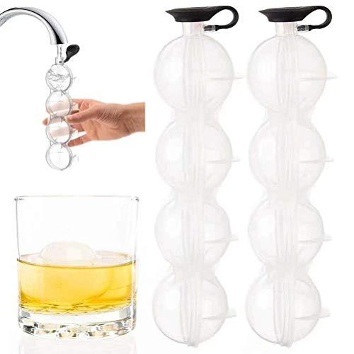 Hosuho Molde de hockey sobre hielo, molde redondo de bola de hielo de 4 agujeros, bandeja de cubitos de hielo, molde de hockey sobre hielo con tapa para cocina, cócteles, bebidas de whisky