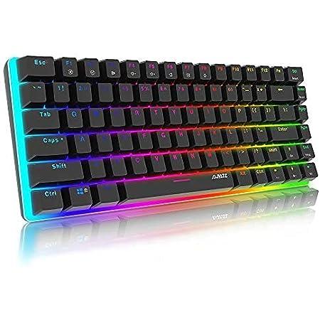 AJAZZ AK33 Tastiera Meccanica Gaming RGB colorati, 82 Tasti 100% Anti-ghosting Switches Blu,Retroilluminazione RGB con 16.8 milioni Tastiera da Gioco per PC,Mac,Nero