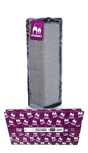 Petrebels Kratzbrett für Katzen 57 cm Höhe Qualität Sisal Eck-Kratzbrett mit Kratzteppich und Premium Plüsch für Zimmerecken in Geschenkbox Kratzbrett Wand Farbe Grau