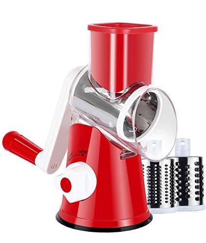 Ancevsk Rallador manual de queso giratorio, mandolina cortador de verduras con 3 cuchillas intercambiables (rojo)