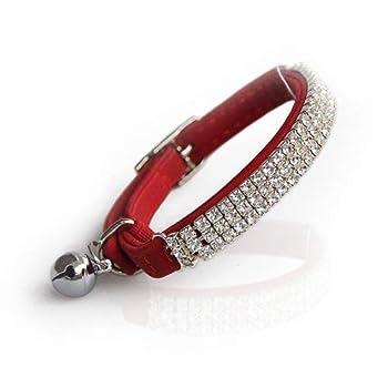 DAIXI Collier réglable Bling Diamante avec Cloches Soft Velvet Safe Cat, 11 Pouces pour Petits Chiens et Chats (Red)