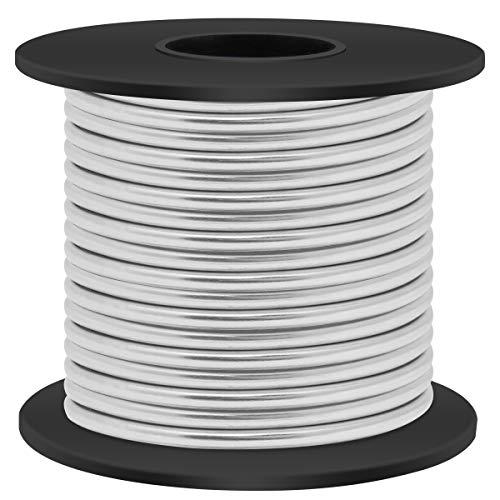 Aluminum Craft Wire 8 Gauge 12 Gauge 18 Gauge, Luxiv 1mm 2mm 3mm Silver Aluminum Wire for Crafting Wire Soft DIY Metal Craft Art Wire (Silver, 8gauge(3mm))