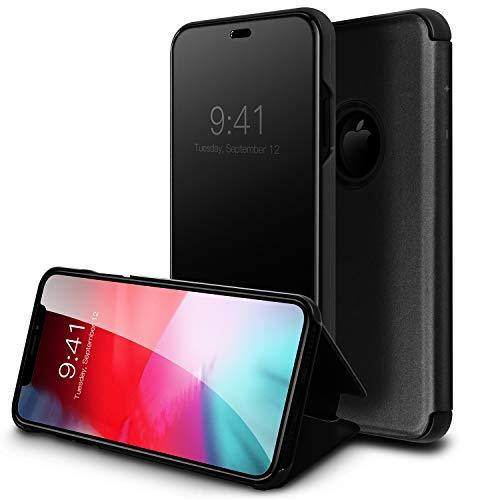 WATACHE Funda iPhone XS MAX, Smart Clear View Mirror Mirror Electroplate Plating Kickstand Feature Funda Protectora Full Flip Folio para Apple iPhone XS MAX (6.5') -Negro