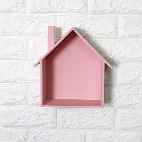 Versier LKU Houten huis vorm opbergrek opknoping mand doos bonsai puin rek opbergdoos DIY huisdecoratie, roze