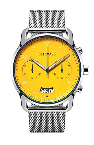 DETOMASO SORPASSO Chronograph Limited Edition Giallo Gelb Herren-Armbanduhr Analog Quarz Mesh Milanese Silber