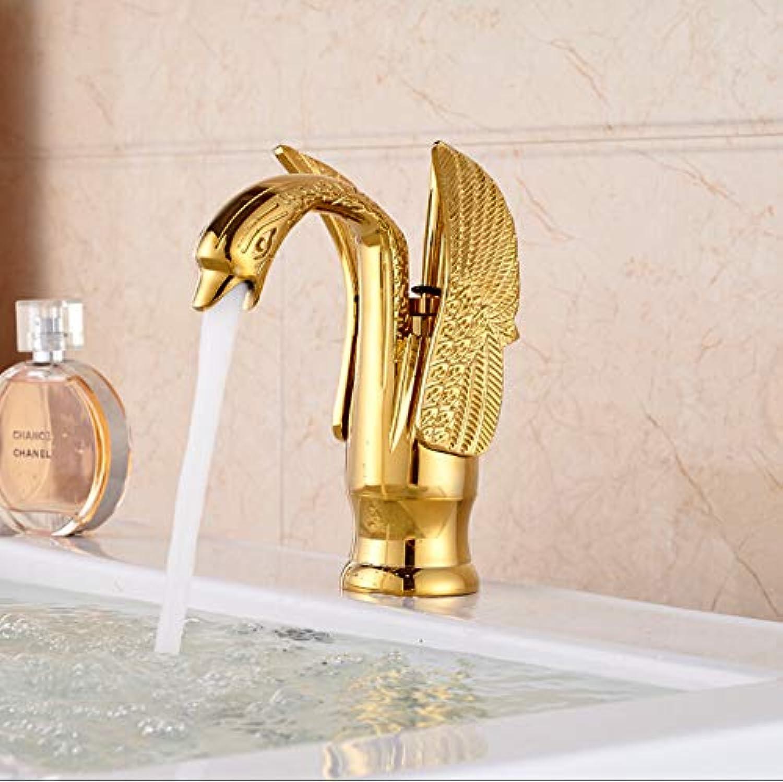 Waschtischarmatur Schwan Form Einzigen Handgriff Waschbecken Wasserhahn Deck Montieren Messing Vanity Sink Mischbatterie Goldene Farbe
