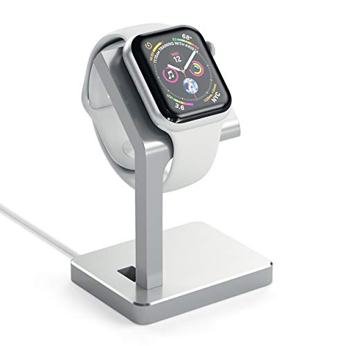 Satechi Aluminum Apple Watch Charging Stand Dock - Compatible with Apple Watch Series 5/4/3/2/1 - Both 38mm and 42mm Models (Silver)
