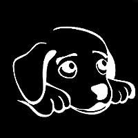 アウトドア ステッカー 14cmの* 10.4CM甘い犬動物ビニール車ステッカーデカールブラック/シルバー アウトドア ステッカー (Color Name : Silver)