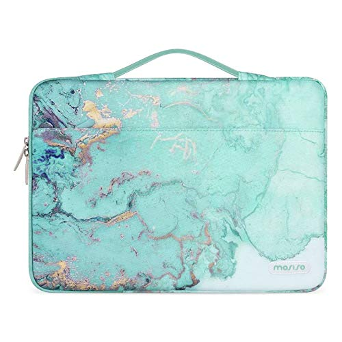 MOSISO 360 Protective Laptop Sleeve Compatible with 13-13.3 inch MacBook Pro, MacBook Air, Notebook Computer, Watercolor Marble Bag with Belt, Green