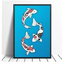 Qqwer ウォールアートプリント日本アートコイス動物の家の装飾ポスターギフト写真リビングルームのアートワークのための帆布-50X70Cmx1Pcs-フレームなし
