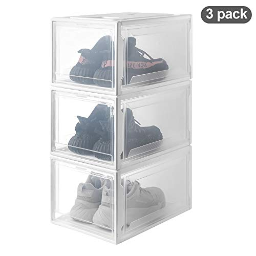 Homde Shoe Boxes 3 Pack Stackable Shoe Storage Rack White Frame with Clear Drawer (X-Large)