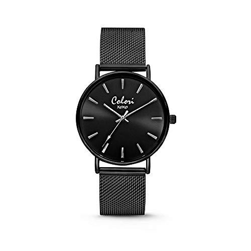 Colori XOXO 5-COL536 - Horloge - mesh band - zwart - ø 36 mm