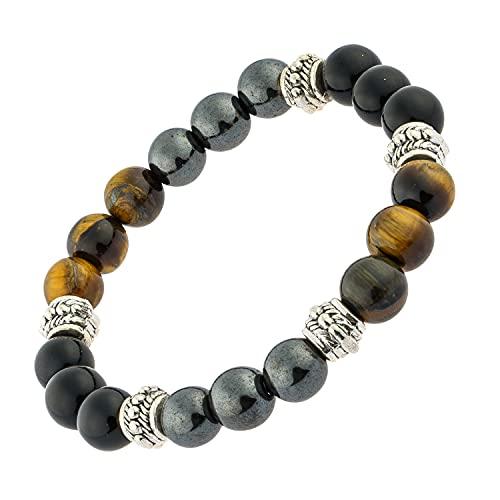 Bracelet triple protection puissant oeil de tigre, obsidienne, hématite, homme, femme, pierres naturelles, contre mauvais oeil, lithothérapie cadeau… (16 cm)