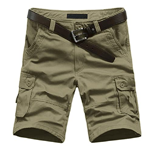 BIBOKAOKE Cargoshorts voor heren, vintage, korte broek met veel zakken, regular bermuda, werkbroek, slim fit, casual, cargobroek, outdoor, ripstop, chinobroek, effen, rechte herenshorts, beige8, 7XL