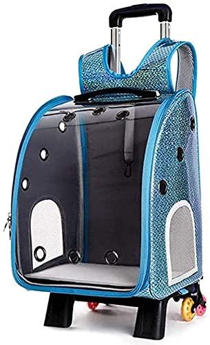 CDFCB Blue Pet Car Trolley Case Impermeabile e Trasparente Dog Carrier Bag Cat Carrier Adatto per Animali Domestici Under 22 libbre (10 kg)