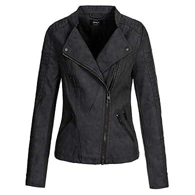 ONLY Onlava Pu Biker Otw Noos - Chaqueta para mujer, color negro, talla 38 a buen precio