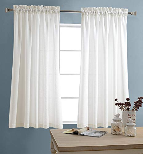 JINCHAN White Kitchen Curtains Semi Sheer Short Curtains for Bathroom Small Window Casual Weave Cafe Curtains Half Window Treatments Tier Curtains 2 Panels 45 Inch Long