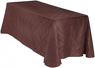 مفرش طاولة LinenTablecloth مستطيل Pintuck , 90 x 156 بوصة , بني داكن