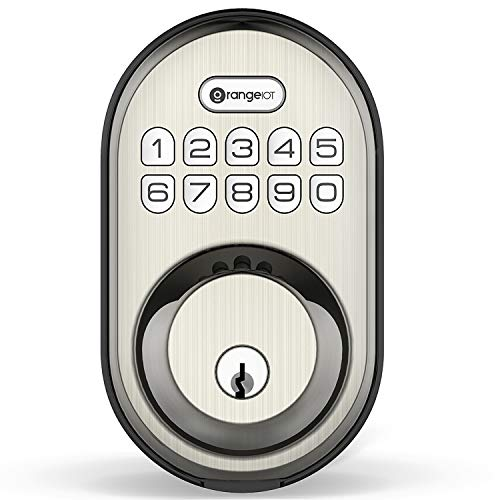 OrangeIOT Keyless Entry Deadbolt Lock, Electronic Keypad Door Lock, Auto Lock, 1 Touch Locking, 20 User Codes, Back-Lit, Easy to Install, Satin Nickel