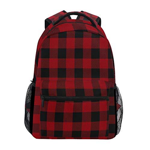 Lustiger roter Karierter Rucksack mit Gittermuster für Reisen, Schule, Büchertasche, Tagesrucksack für Kinder, Mädchen, Jungen, Männer, Frauen