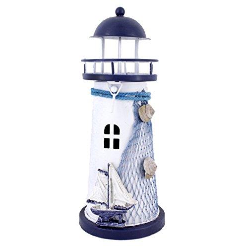 Sharplace Eisen Leuchtturm Leuchter Kandelaber Kerzenhalter Kerzenständer Teelichthalter - 18cm Segeln Weiß